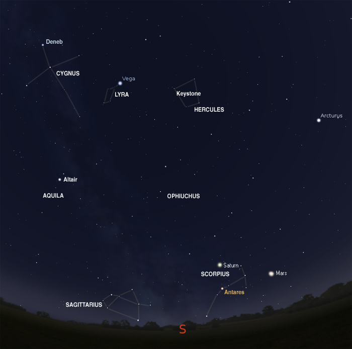 Map for July 16 with constellation names