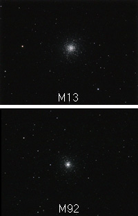 M13 and M92 compared, credit Robin Scagell