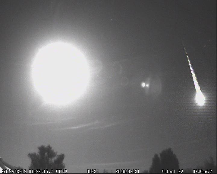 A bright fireball near the Moon