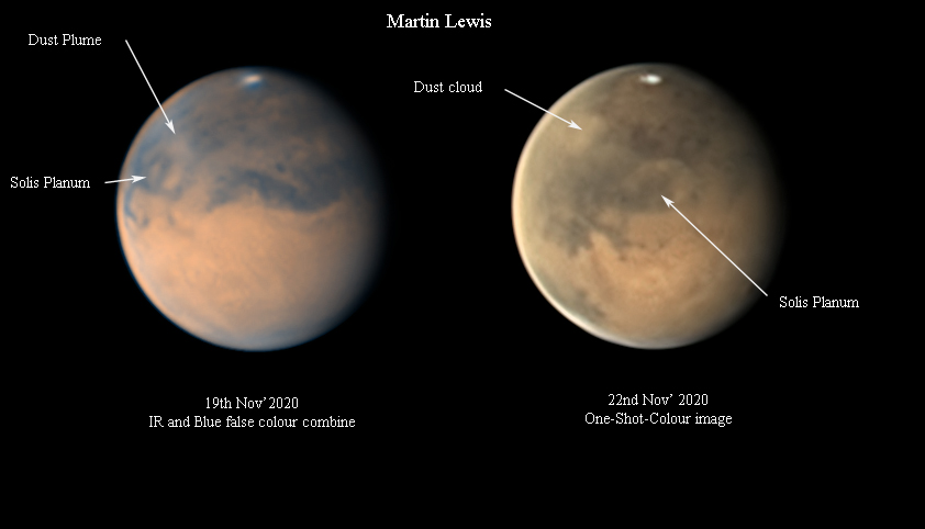 Mars Nov 2020 dust event annotated