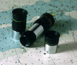 Two eyepieces and a Barlow lens