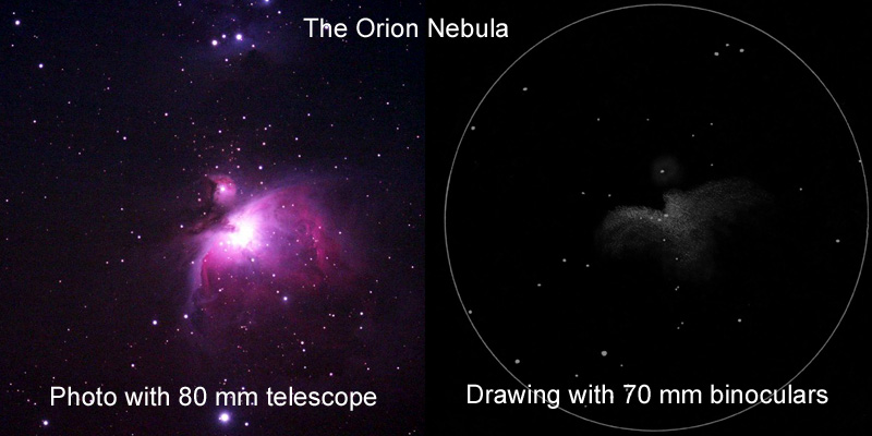 M42 in a photo and in a drawing
