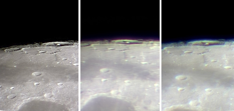 False colour from three telescopes compared