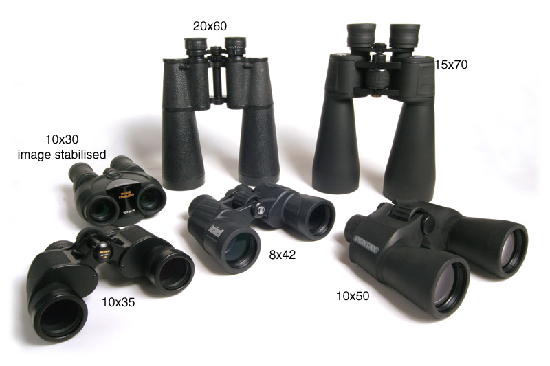 A range of binocular sizes