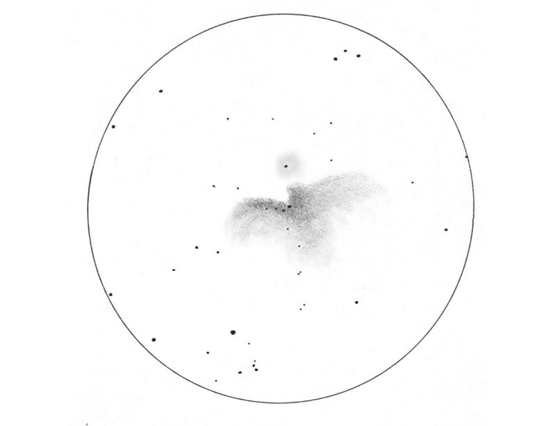 A drawing of the Orion Nebula