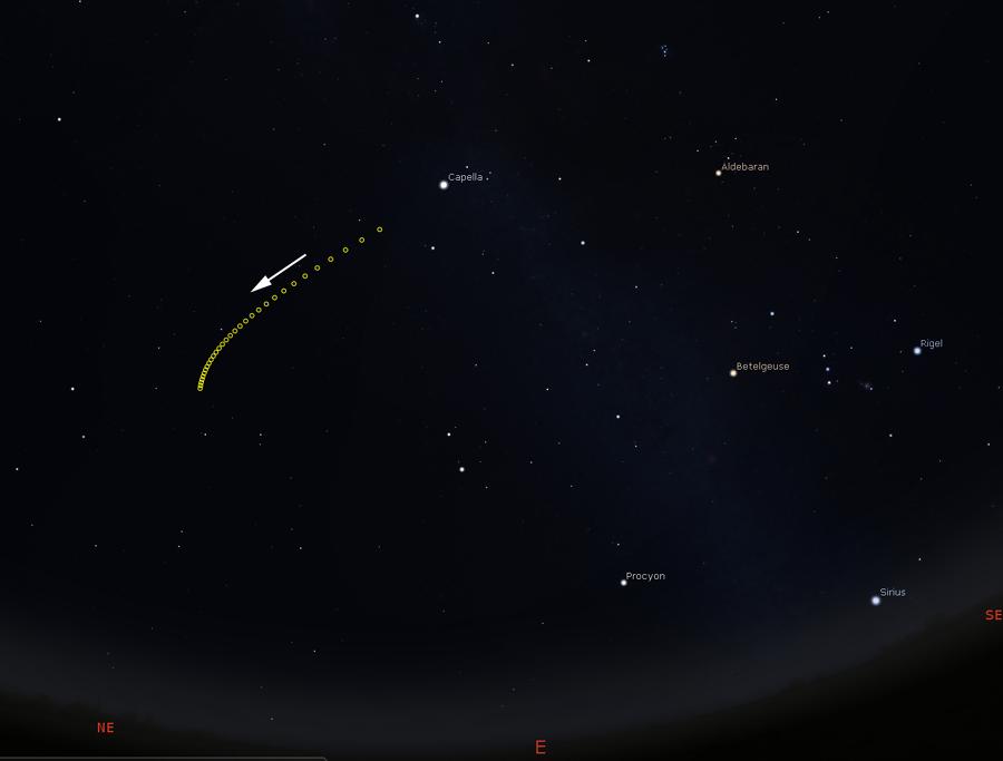 Track of comet Wirtanen